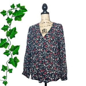 {Joie} Abstract Floral Print Sheer Silk Blouse, M